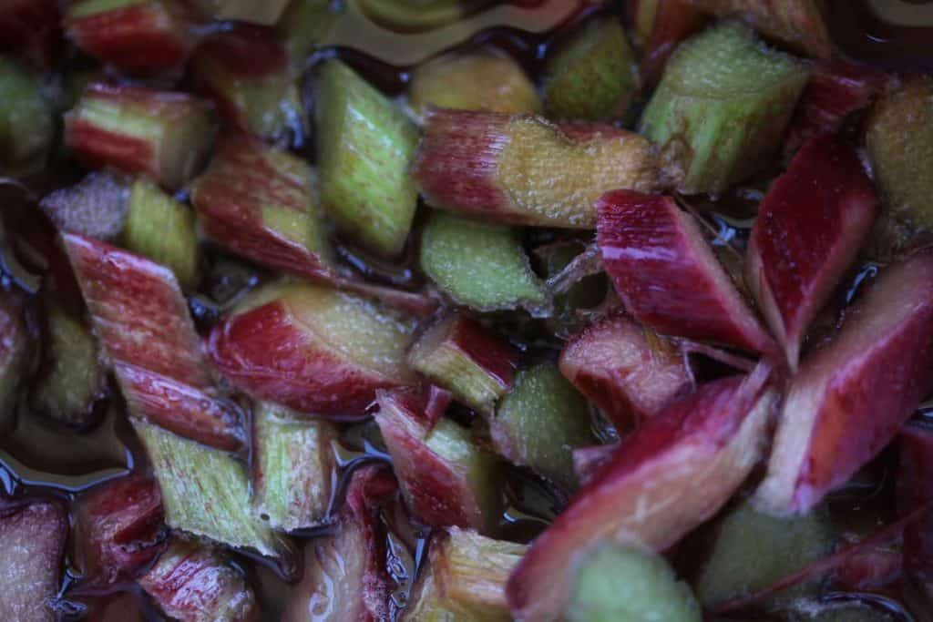 closeup of chopped rhubarb in juice