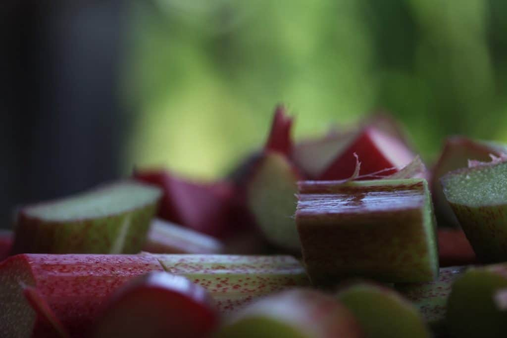 sliced rhubarb pieces in front of a green blurred background