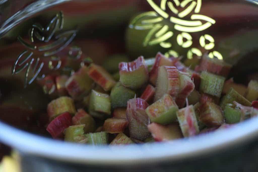 chopped rhubarb in a colander